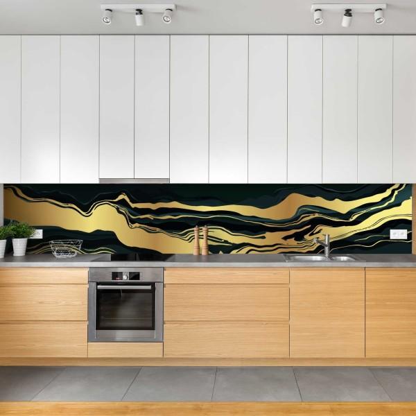 Crédence de cuisine élégant vagues dorées